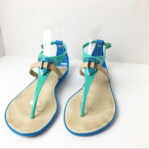 SZ 7 BCBGENERATION Blue & Teal Thong Sandals